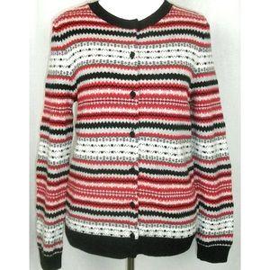 Talbots Fair Isle Lambswool Cardigan Sweater